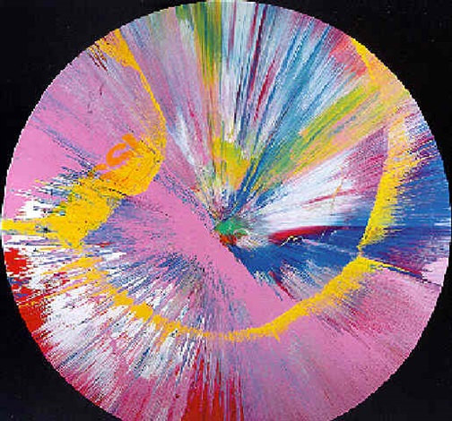 Damien Hirst-Beautiful Big Issue Prize What's got a Bottom at the Top Chris Callaghan Swirly Pink Painting-1997