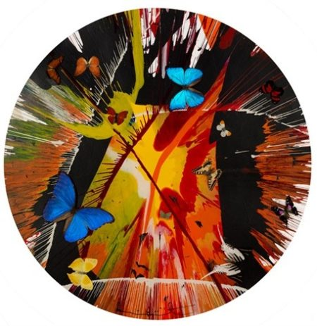 Damien Hirst-Beautiful Cannibalistic Electofetish Fighting in The Lava Beds Who Got My Eyeball Paper Spin Painting (With Butterflies)-2008