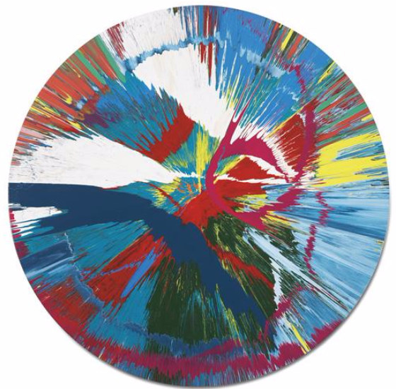 Damien Hirst-Beautiful Dirvich Spin me round on the Ground Painting-2007