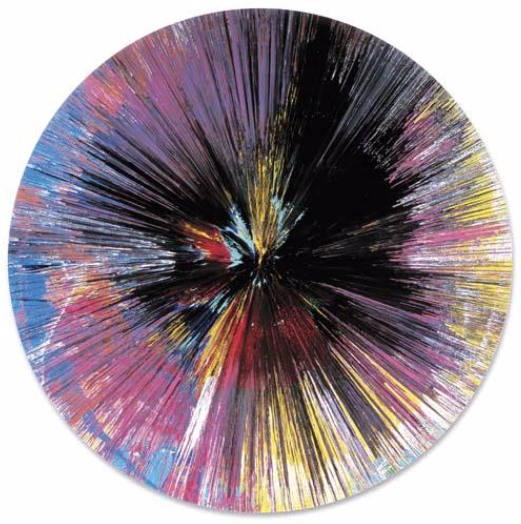 Damien Hirst-Beautiful Layers Together Dispersion Dark Liquid Destiny's Pink Misery Painting-2004