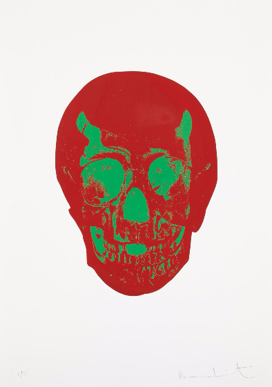 Damien Hirst-Chili Red, Lime Green Skull, from the Dead Series-2009