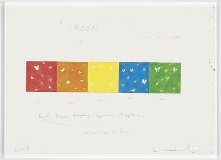 Damien Hirst-D, A, B, D, A Drawing-2008