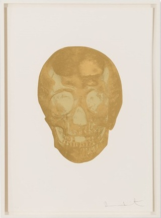 Damien Hirst-Death or Glory (Autumn Gold, Sunset Gold - Glorious Skull)-2011