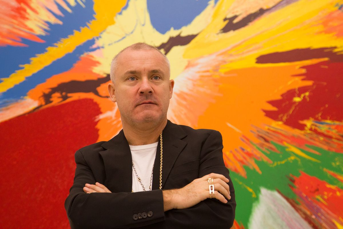 Damien Hirst in a gallery in Doha 2013