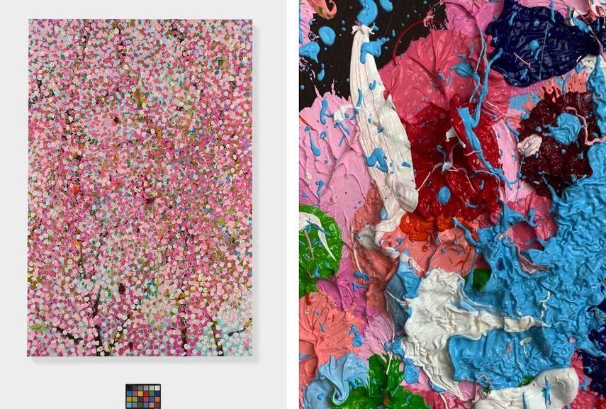 Damien Hirst - Fantasia Blossom, 2018, Damien Hirst - Cherry Blossom (detail), 2019