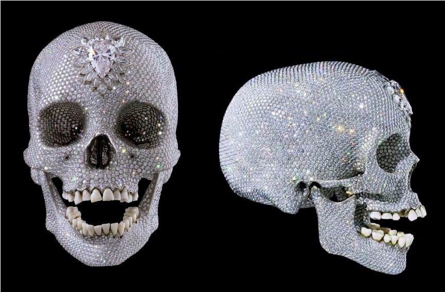 Damien Hirst - For the Love of God, 2007 - Real skull from 18th century, Platinum, 8601 diamonds, sold for $123 million