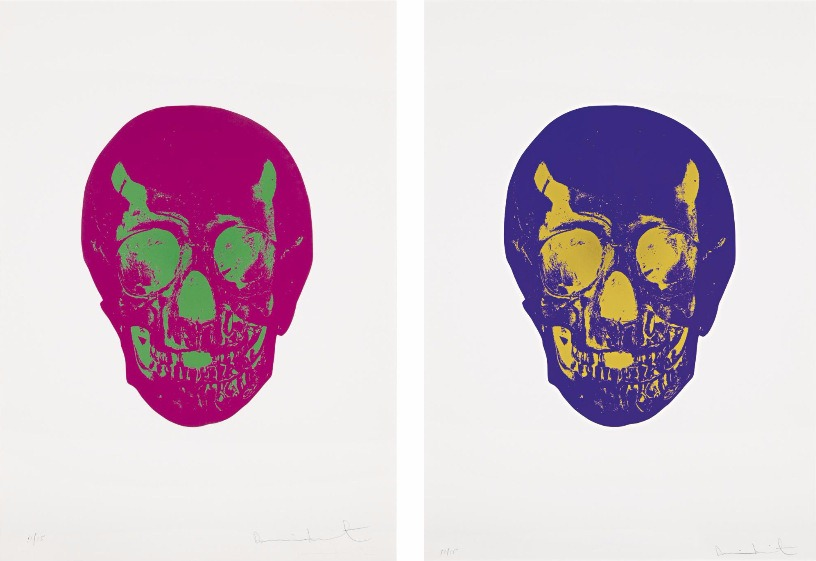Damien Hirst-Fuchsia Pink, Lime Green Skull, and Imperial Purple, Oriental Gold Skull-2009
