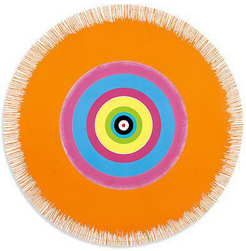 Damien Hirst-Gorgeous Concentric Beautiful Charity Begins at Home, Exploding Orange Painting-2002