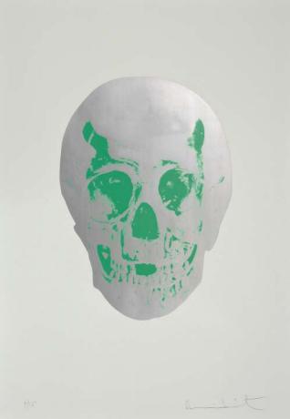 Damien Hirst-Gunmetal & Lime Green Skull, The Dead-2009