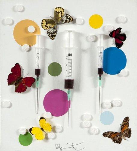 Damien Hirst-Happy (Syringe Painting)-2008