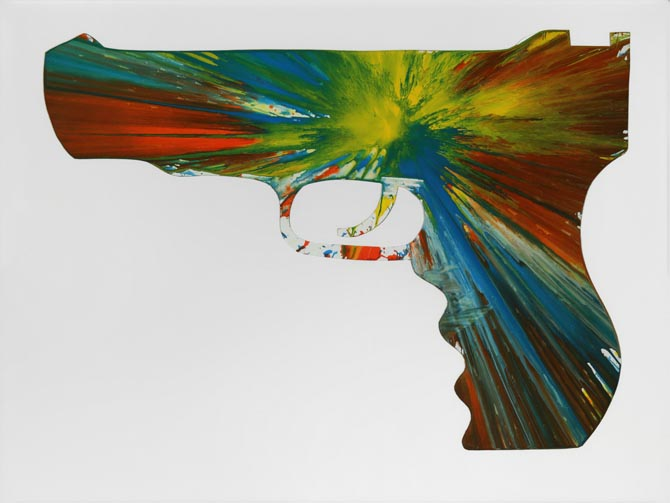Damien Hirst-Left Gun Spin Painting (Created at Damien Hirst Spin Workshop)-