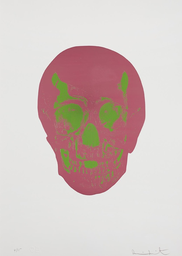 Damien Hirst-Loganberry (Fuschia) Pink / Lime Green Skull, from The Sick Dead-2009