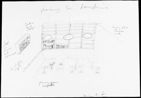 Damien Hirst-Pharmacy Bar Downstairs Drawing-1997