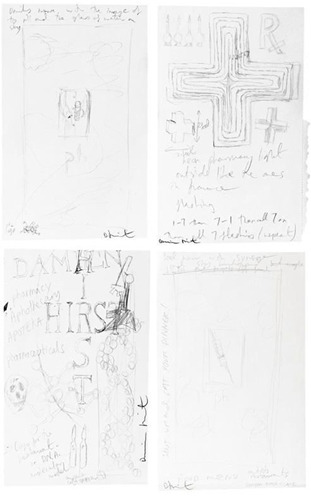 Damien Hirst-Pharmacy Cross, Drinks Menu, Food Menu, Notes for Pharmacy-1997