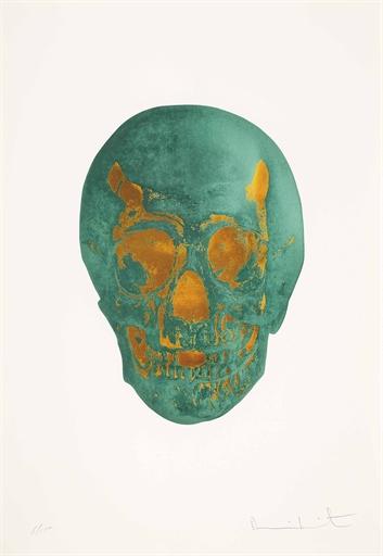 Damien Hirst-Racing Green Island Copper Skull, The Dead-2009
