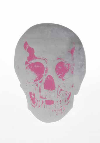 Damien Hirst-Silver Gloss, Loganberry Pink Skull, The Dead-2009
