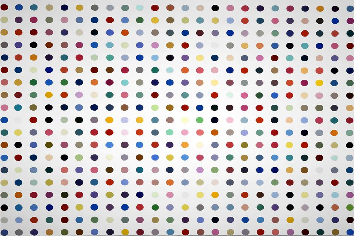 What is repetition in art? See the principles in Damien Hirst's paintings