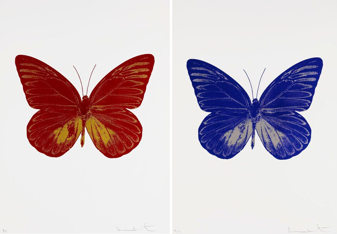 Damien Hirst-The Souls I: Chili Red,Oriental Gold and Westminster Blue,Silver Gloss-2010