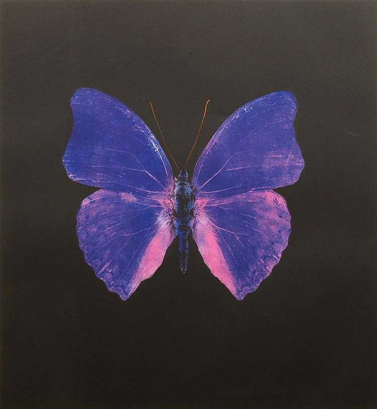 Damien Hirst-The Souls on Jacob's Ladder Take Their Flight (Blue and Pink Butterfly)-2007