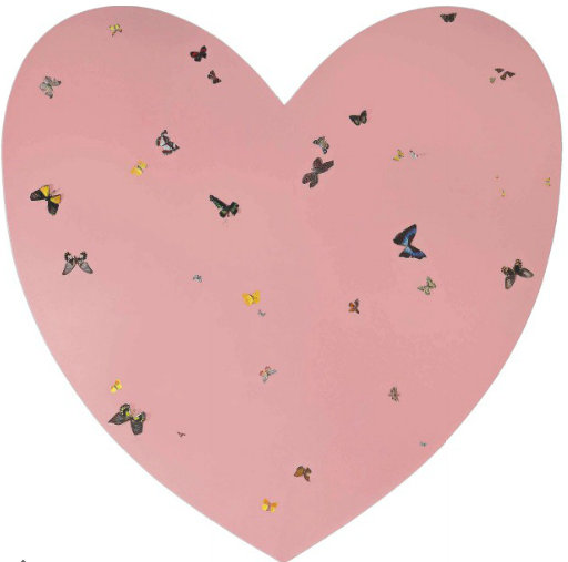 Damien Hirst-Untitled (Pink Heart with Butterflies)-1996