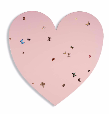 Damien Hirst-Untitled (Pink Heart with Butterflies)-2002