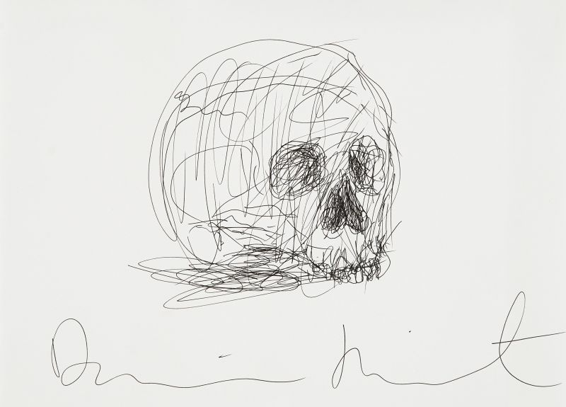 Damien Hirst-Untitled (Skull Drawing)-