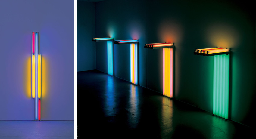 Dan Flavin works are on view and flavin's colors collection is in museum