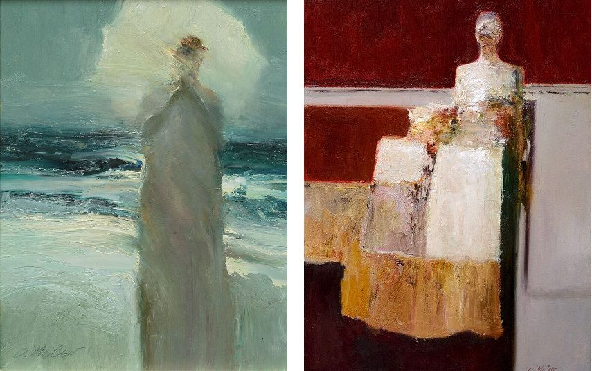 Dan McCaw - Figure with umbrella (left), Waiting (right)