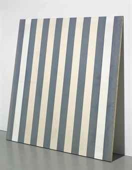 Daniel Buren-Peinture acrylique blanche sur tissu raye blanc et bleu-1972