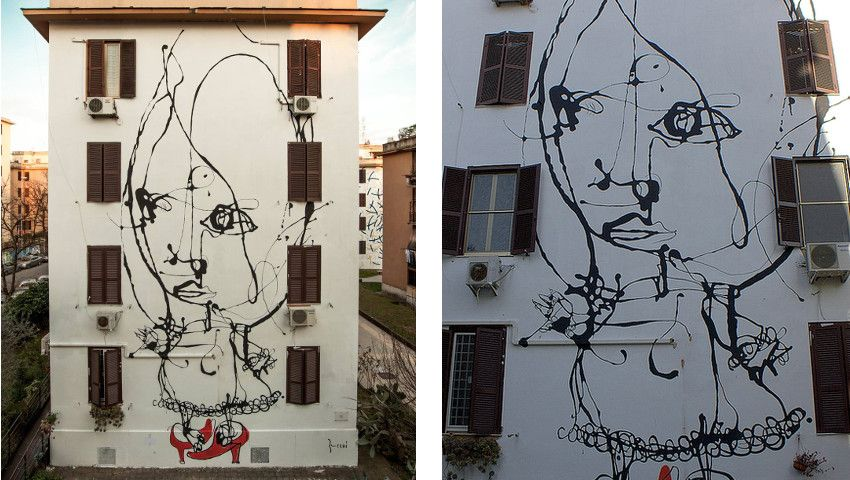Danilo Bucchi - Assolo - Roma, Italy - 2015 (Left) - Assolo - street art - Roma, Italy - detail (Right)