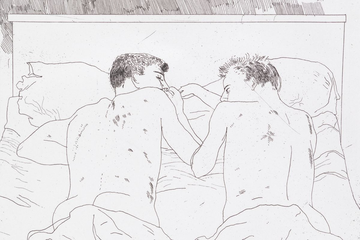David Hockney – Two Boys, from Illustrations for Fourteen Poems by C.P. Cavafy (detail), 1966 - 1967