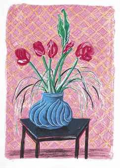 David Hockney-Amaryllis, from Moving Focus-1985