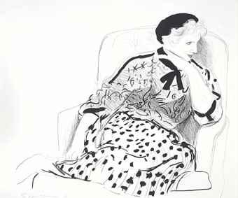 David Hockney-Celia in an Armchair-1981