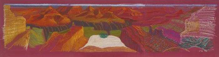 David Hockney-Composition Crayon Study For A Closer Grand Canyon-1998