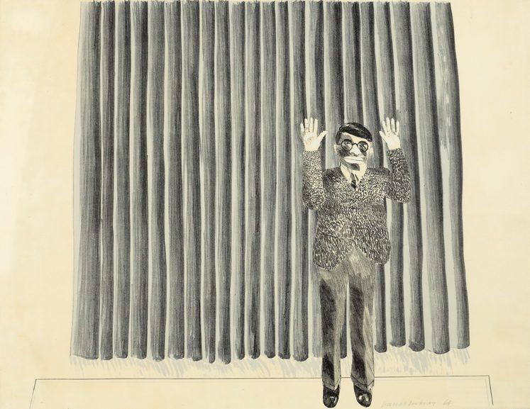David Hockney - Figure by Curtain