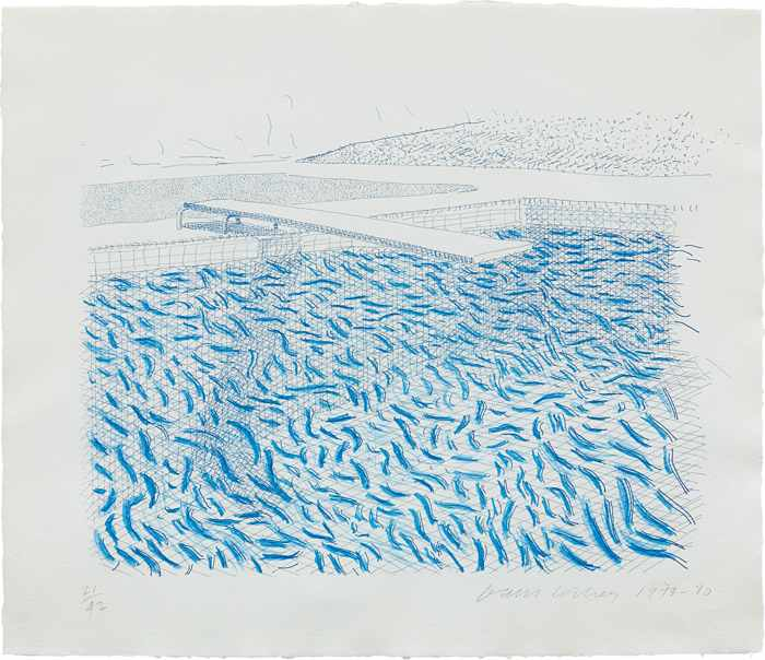 David Hockney-Lithographic Water Made of Lines and Crayon-1980