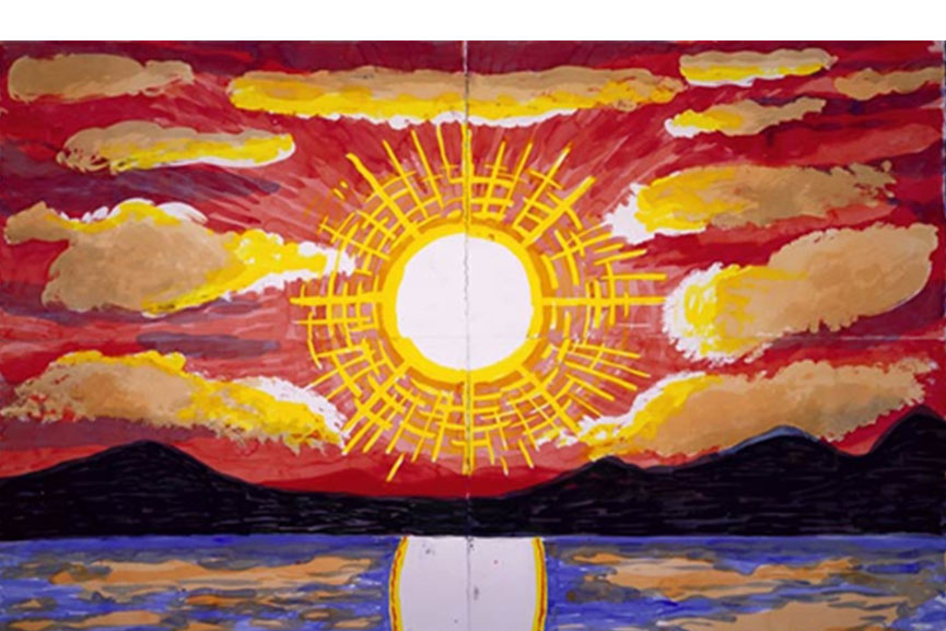 is this sunset painting done with acrylic paint on canvas? sunset painting and seascape painting . painting sunset