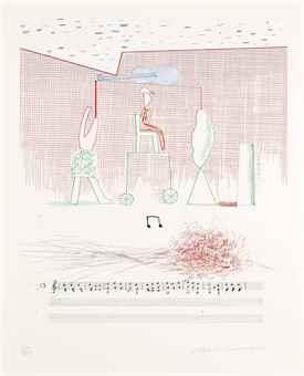 David Hockney-Parade, from: The Blue Guitar-1977