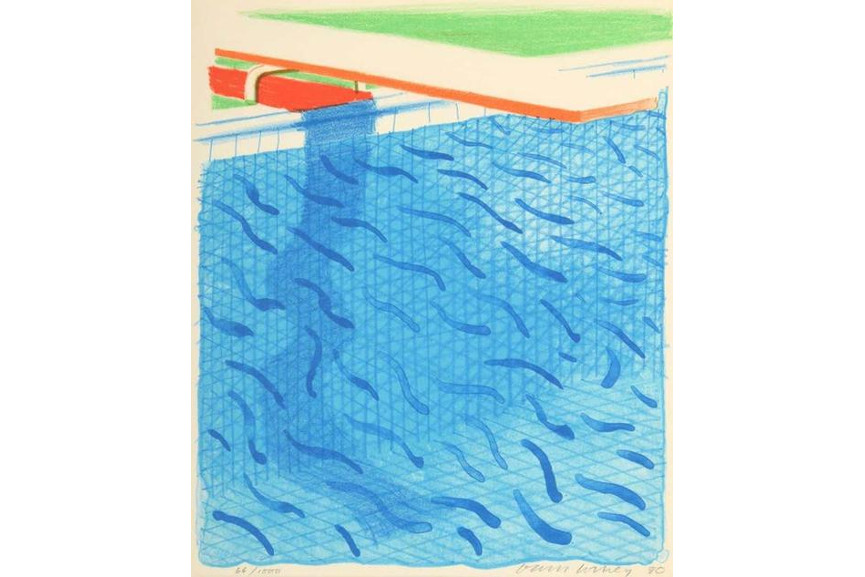 David Hockney - Pool Made with Paper and Blue Ink from Paper Pools