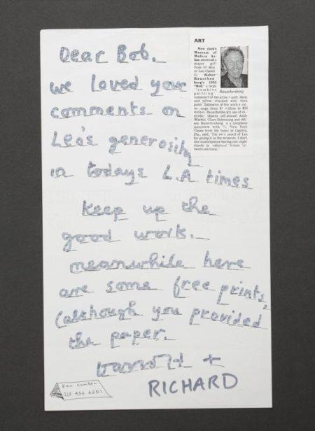 David Hockney-Rauschenberg Note-1989