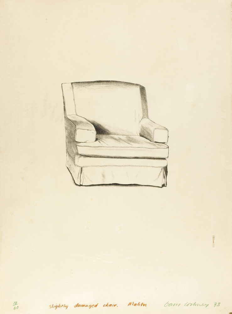 David Hockney-Slightly Damaged Chair, Malibu-1973
