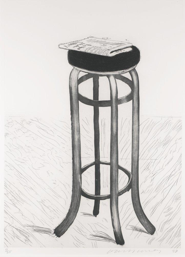 David Hockney-Steel Stool With Newspaper-1998