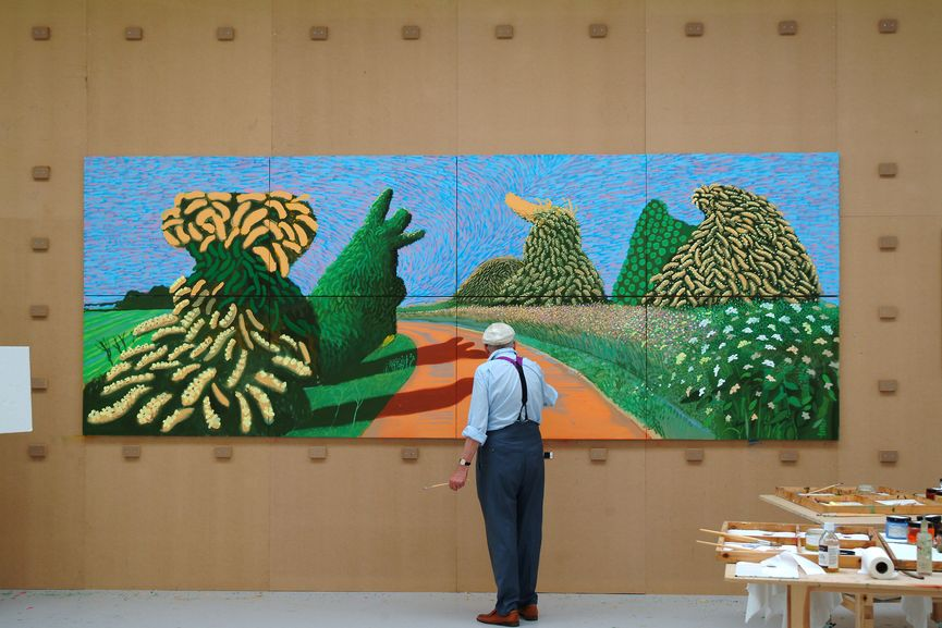 "David Hockney paintning ""May Blossom on the Roman Road"" 2009"