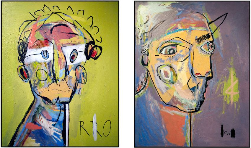 David King Reuben's paintings - RRO, 2012 (Left) / OW, 2012 (Right)