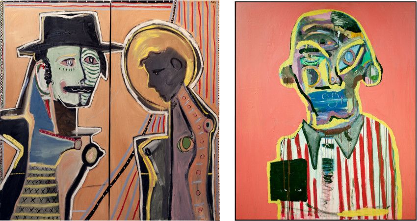 David King Reuben's paintings - Two Figures no.2, 2012 (Left) / Ellis, 2013 (Right)