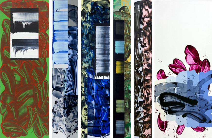 David Reed - Vertical, From left to right - #639, 2003 to 2013, #606, 2009 to 2011, #608, 2009 to 2011, #574, 2005 to 2007, #559, 2006 to 2007, #637, 2003 to 2013