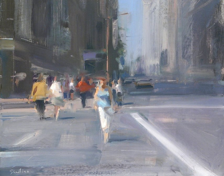 David Shevlino - Pedestrians - Oil portrait are not the same as life video figure in paint!