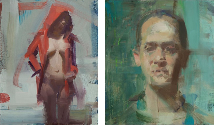 David Shevlino - Red jacket, 2016 (left), Self portrait, 2010 (right) - Oil portrait are not the same as life video figure in paint!