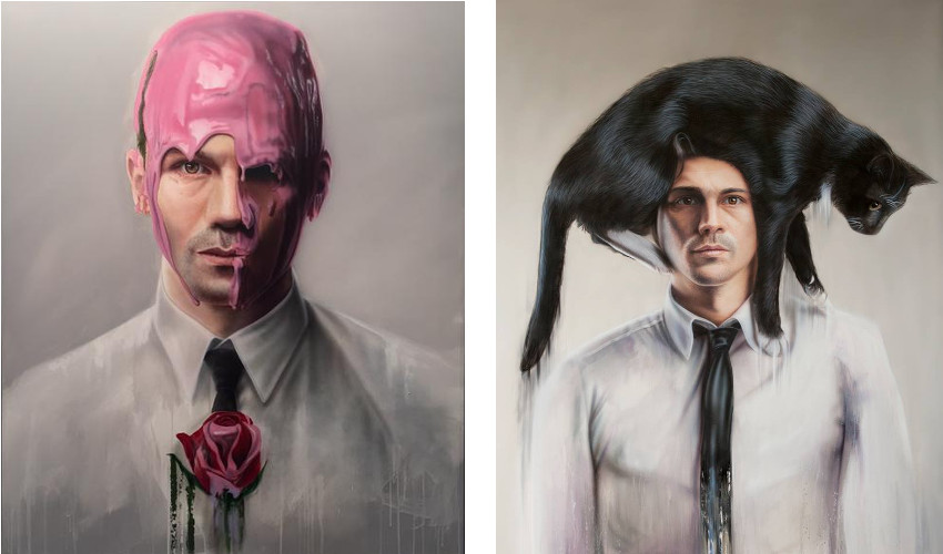 Untitled #1, oil and acrylic on canvas, (Left) / Cat-hat, oil and acrylic on canvas, 2015 (Right) new gallery topics