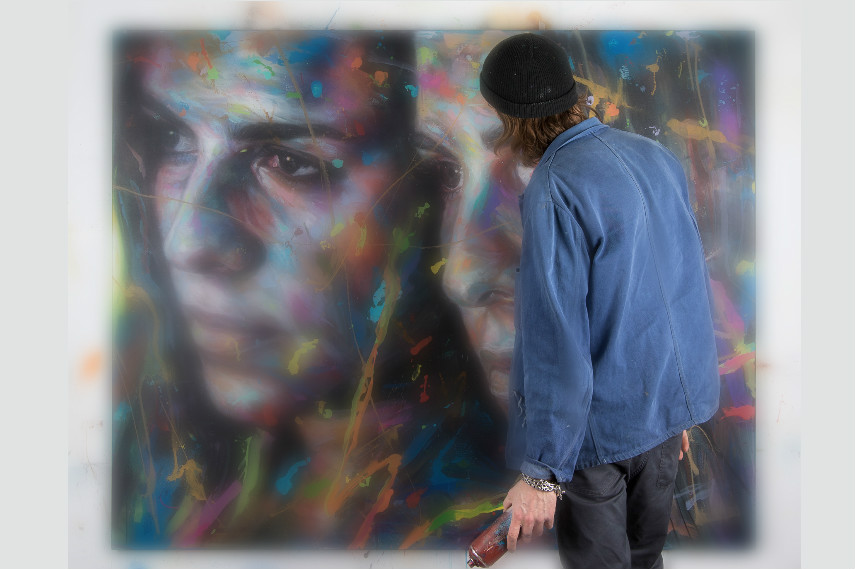 A Photo of David Walker using spray in his graffiti studio by Anders Gjennestad